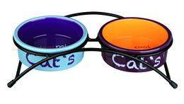 Katteskål Keramikk Dobbel M/Stativ Farget 0,3L