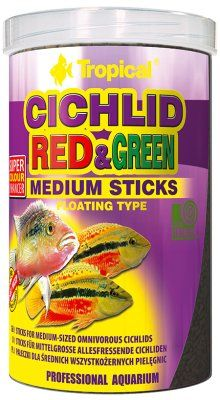 Tropical Cichlid Red & Green Sticks 1L - M